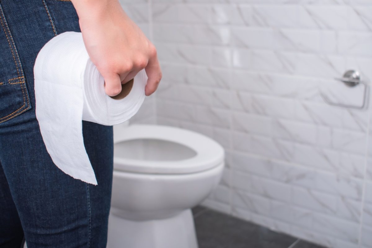 person holding toilet paper by the toilet
